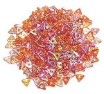 5 Grams of Czech Glass 4mm Tri-Beads - Crystal Orange Rainbow