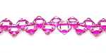 40 Czech Glass Silky 2-Hole 6mm Beads - Crystal Pink Lnd