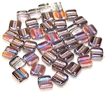 40 Grooved Tile 2-Hole Czech Glass Groovy Beads - Crystal Silver Rainbow