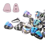 7.5 Grams of NIB-BIT 6x5mm Czech Glass Beads - Crystal Silver Rainbow