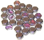 30 Czech Glass 6mm Honeycomb Hex 2-Hole Beads - Crystal Silver Rainbow