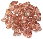 10 Czech Glass 10x12mm 3-Petal Flower Beads - Crystal Terracotta Red