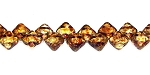 40 Czech Glass Silky 2-Hole 6mm Beads - Crystal Travertine Dark
