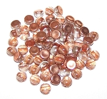 7.5 Grams of 6mm Czech Glass 2-Hole Cabochon Beads - Crystal Underlit Peach