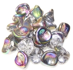 10 Czech Glass 10x12mm 3-Petal Flower Beads - Crystal Vitrail