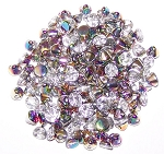 5 Grams of 4mm Czech Glass Button Beads - Crystal Vitrail