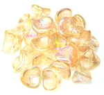 10 Czech Glass 10x12mm 3-Petal Flower Beads - Crystal Yellow Rainbow