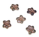 10 Czech Glass 14mm 5-Petal Pressed Flower Beads - Jet Luster