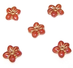 10 Czech Glass 14mm 5-Petal Pressed Flower Beads - Milky Topaz