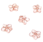 10 Czech Glass 14mm 5-Petal Pressed Flower Beads - Rose Pink Luster
