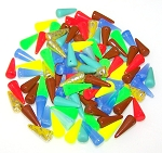 20 Grams of Czech Glass 5x13mm Spikes - Random Color Mix