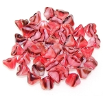 10 Czech Glass 8x6mm Flower Bell Beads - Pink Swirl