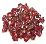 10 Czech Glass 8x6mm Flower Bell Beads - Pink Capri Gold