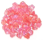 10 Czech Glass 8x6mm Flower Bell Beads - Pink Opal AB