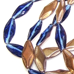 6 Czech Glass Pressed Glass Sapphire Capri Gold 10x25mm Oval Beads