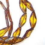 6 Czech Glass Table Cut Amber Picasso 10x25mm Oval Beads