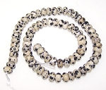 1 Strand of 8x5mm Puff Rondelle Semiprecious Gemstone Beads - Dalmatian Jasper