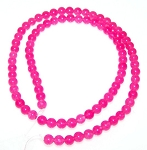 1 Strand of 4mm Round Beads - Dark Pink Quartz