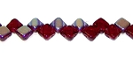 40 Czech Glass Silky 2-Hole 6mm Beads - Dark Ruby AB