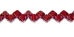 40 Czech Glass Silky 2-Hole 6mm Beads - Dark Ruby Luster