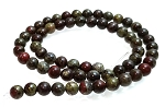 1 Strand of 6mm Round Semiprecious Gemstone Beads - Dragon Blood Jasper