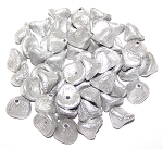 10 Czech Glass 10x12mm 3-Petal Flower Beads - Etched Aluminium Silver