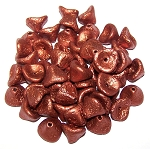 10 Czech Glass 10x12mm 3-Petal Flower Beads - Etched Copper