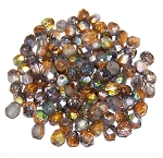 4 Dozen Czech 6mm Fire-Polished - Crystal Etched Magic Copper
