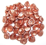 10 Czech Glass 10x12mm 3-Petal Flower Beads - Etched Vintage Copper