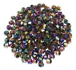 50 Full Rainbow Black 4mm Glass Crystal Bicones