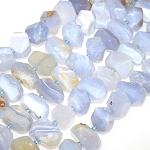 1 Strand of Semiprecious Gemstone Large Nugget Beads - Faceted Blue Lace Agate