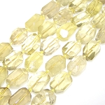 1 Strand of Semiprecious Gemstone Large Nugget Beads - Faceted Lemon Quartz