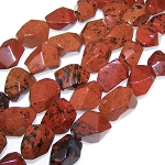 1 Strand of Semiprecious Gemstone Large Nugget Beads - Faceted Mahogany Obsidian