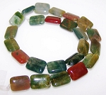 6 - 12x16mm Puff Rectangle Semiprecious Gemstone Beads - Fancy Jasper