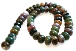 1 Dozen 12x8mm Puff Rondelle Semiprecious Gemstone Beads - Fancy Jasper