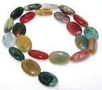 1 Strand of 13x18mm Puff Oval Semiprecious Gemstone Beads - Fancy Jasper