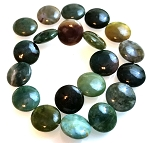2 Fancy Jasper 20mm Puff Coin Semiprecious Gemstone Beads