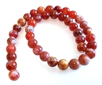 1 Dozen 10mm Round Semiprecious Gemstone Beads - Fire Agate