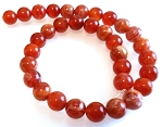 6 Fire Agate 12mm Round Semiprecious Gemstone Beads