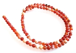 1 Strand of 4mm Round Semiprecious Gemstone Beads - Fire Agate
