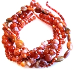 Fire Agate Semiprecious Gemstone Beads - 6 Strand Set