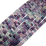 1 Strand of 8x5mm Puff Rondelle Semiprecious Gemstone Beads - Fluorite
