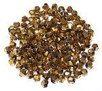 50 Full Metallic Gold 4mm Glass Crystal Bicones
