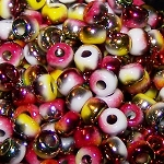 7.5 Grams of Miyuki Czech Unions Size 6 Seed Beads - Chalk Opaque Funky Apple