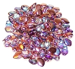 5 Grams of 3x5mm Czech Glass Gekko Beads - Crystal Copper Rainbow