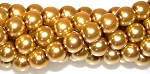 1 Strand of Czech Glass 8mm Pearl Beads - Gold