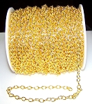8 Ft (2.5 meters) of Gold-Plated Cable Chain 7x5.5mm