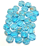 30 Czech Glass 6mm Honeycomb Hex 2-Hole Beads - Gold Splash Aqua