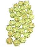 30 Czech Glass 6mm Honeycomb Hex 2-Hole Beads - Gold Splash Olivine
