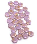 30 Czech Glass 6mm Honeycomb Hex 2-Hole Beads - Gold Splash Purple